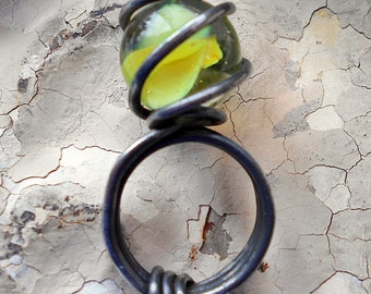 A Yellow Cats Eye Found Object Ring