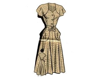 1950s Day Dress Pattern Sweetheart Flutter Sleeve Shoulder Yoke Big Pockets Marian Martin 9399 Bust 40 UNPRINTED Vintage Sewing Pattern