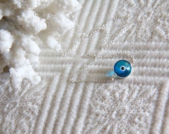Evil Eye Necklace - Murano Glass and Sterling Silver -- Turquoise