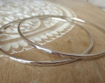 Sterling Silver Hammered Bangle Bracelet, Stacking Bangle, Silver Bracelet, Small, Medium, Large, Gift Women, Boho, Best Friend, Girlfriend