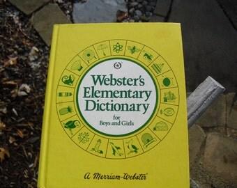 Vintage Children's Dictionary Webster's Elementary Dictionary for Boys and Girls Children's Reference Book