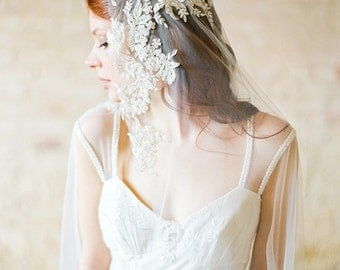 Wedding Veil, Beaded Lace Veil, Ivory Champagne Veil, Mantilla Veil, Bridal Veil Chapel Length - Style 307