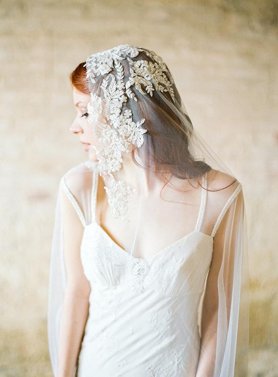 Wedding Veil, Bridal Veil, Ivory Beaded Lace Veil, Mantilla Veil, Chapel veil - Style 307