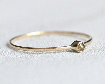 Delicate Rose Cut Diamond and Solid 14k Rose or White or Yellow Gold - Tiny Delicate Stacking Ring - Dainty 14k Gold Stacking Ring Tiny