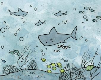 Shark Underwater Art Whimsical Ocean Children Print 5x7