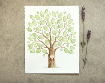Wedding Tree Guest Book Family Tree Original Watercolor Painting with PRESTAMPED LEAVES