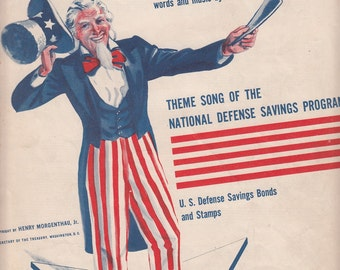 Any Bonds Today 1941 Sheet Music by Irving Berlin Uncle Sam Saving Bonds