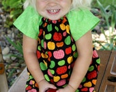 Girls Dress, Peasant Dress: Apple of My Eye, Back to School , Choose your Size and Sleeve