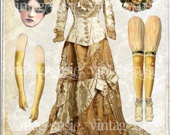 Vintage Victorian Bride Art Paperdoll Collage Sheet '1880 BRIDE' Here Comes The BRIDE Series Digital Download