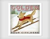 Custom GOLDEN Golden Retriever Ski Company  PRINT