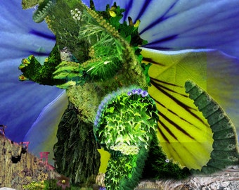 Godzilla Nature Collage, 8x10 Signed Giclee Print