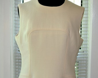 Vintage 60s Mod - January Bride - Winter White Woollen Dress - m