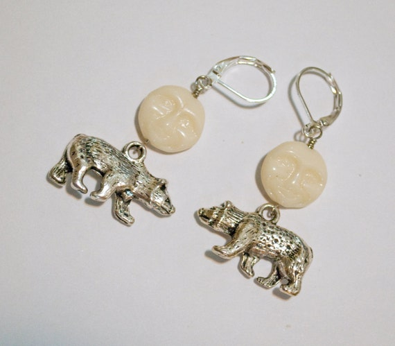Reserved for Kristine - Polar bear and moon earrings