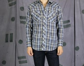 Blue Plaid Western Snap S...
