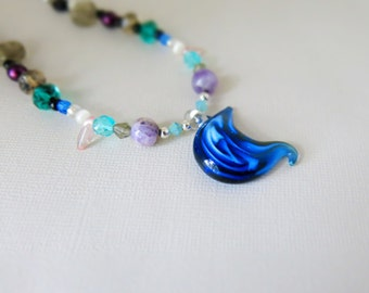 F-48 Celestial Blue Moon - Glass Beaded Necklace - lobster claw clasp - 16 inches