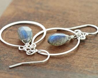 Sterling Silver Chandelier Earrings with Dangling Labradorite, Gray Gemstone Hoop Earrings