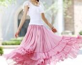 pink skirt   women long skirt   full skirt   tiered skirt  with elastic waist  (1019)