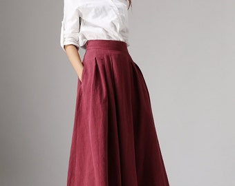 Plus size skirt, linen skirt, long skirt, maxi skirt, ladies skirt, swing skirt, high waisted skirt, fall skirt, handmade skirt 1048