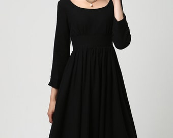 Black dress, wool dress, long dress, midi dress, pleated dress, boat neck dress, winter dress,ladies dresses,high waisted dress,handmade1126