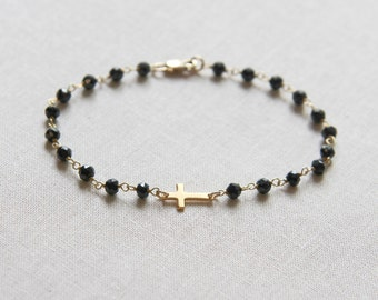 Rosary Style Sideways Cross Bracelet | Black Onyx and Gold Bracelet