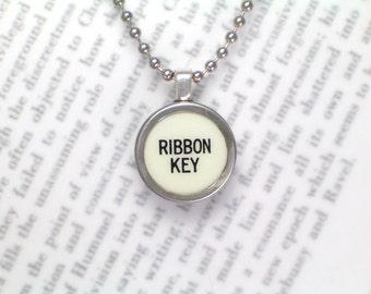 Typewriter Necklace Pendant With Ribbon Key On Ball Chain - Typewriter Key Jewelry By HauteKeys