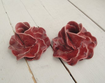 Vintage Leaf Red Burgundy Candle Holder Pat Young Set of 2