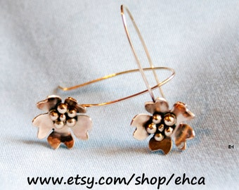 10k Gold Cherry Blossom Dangle Earrings with 10k Gold Balls in Center