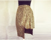 Golden Crush Asymmetric Skirt - OOAK Skirt, Holiday Party Skirt, Metallic Gold Skirt, High Low Skirt, Size Small/Medium