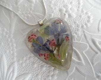 Summer Love-Pressed Flower Resin Heart Pendant with Royal Blue Lobelia, Baby's Breath, Pink Heather. Maidenhair Ferns