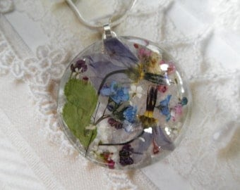 Blue Shooting Star Blossoms, Alyssum,Queen Anne's Lace Pressed Flower Glass Pendant-Gifts For 30-Make A Wish-Symbolizes Loyalty, Peace