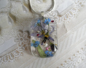 Blue Shooting Star Blossom, Forget-Me-Nots,Queen Anne's Lace Pressed Flower Glass Rectangle Pendant-Symbol Of True Love,Peace-Gifts Under 30