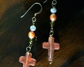 Cross Earrings Sterling Silver Rose Quartz  Fresh Water Pearl and Moonstone, post or clip on style also available
