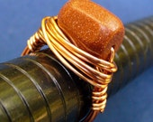 Ring Hammered Copper Wire Wrapped Chunky Gold Stone Size 7.5