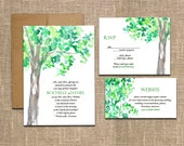 DIY- Watercolor Tree, a Printable Wedding Invitation Suite
