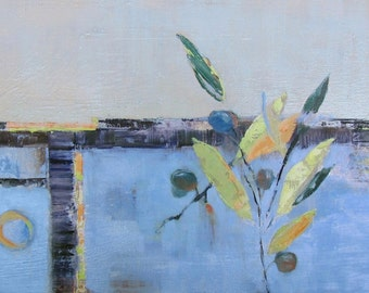 """Wall Art, Large Horizontal Abstract Painting, Ready to Hang Art, Abstract Painting, Garden Art, """"Abstracted Olives"""" by AndolsekArt"""
