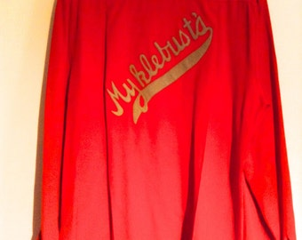 Bowling Shirt.  Myklebust's. Red with Grey felt.  Rockabilly, Vintage 1950 1960, Rocker, The Wally Deb. Jayvee Brand, Size 18.