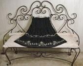 Ann Taylor Black Skirt Embroidered Bohemian Gypsy Mid Calf Sheer Skirt ML