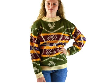 70s Vintage Womens Sweater TRIBAL INDIAN Design Southwestern Style Pullover Sweater 1970s Bohemian Hippie Hipster Oversized Sweater S / M