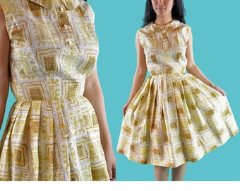 Vintage 50s Dress 1950s Day DRESS / Tribal Print Cotton Day Dress / Pleated Skirt Dress / Peter Pan Collar Dress / Sleeveless Summer Dress