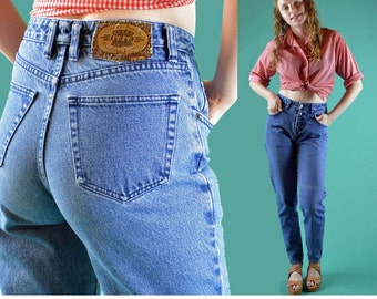 Vintage 80s High Waist Jeans / Distressed & Faded PEPE Jeans / High Waisted Jeans Taper Leg Expose Button Fly 80s Blue Jeans 28 Waist
