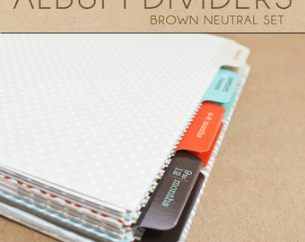 Brown Neutral Album Dividers Set  - Include in your Two Giggles Baby Album
