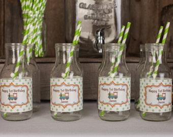 Train Themed Water Bottle Labels - Train Birthday Party Decorations - Train Party - Train Water Bottle Labels - Mason Jar Labels (12)