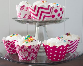 12 Hot Pink Cupcake Wrappers - PICK YOUR PATTERN - Pink Cupcake Wrappers - Great for Birthday Parties, Baby Showers & Wedding Receptions