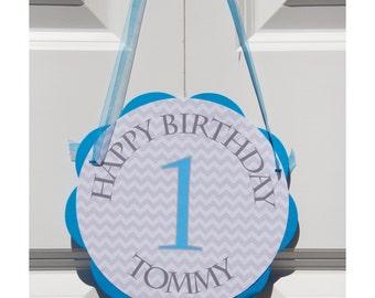 Chevron Door Hanger - Happy Birthday Party Decoration in Blue and Grey Chevron, Boy Birthday Party Decorations - BB4