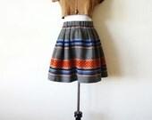 Vintage Wool Southwest Tribal Print Skirt 90s Small