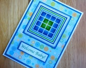 Welcome Baby Boy Handmade Cross Stitch Card in Blue and Green Rail Fences
