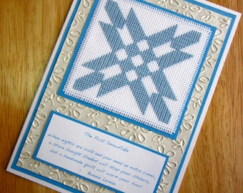 The First Snowflake Amish Quilt Block Quotation Cross Stitch Card Handmade