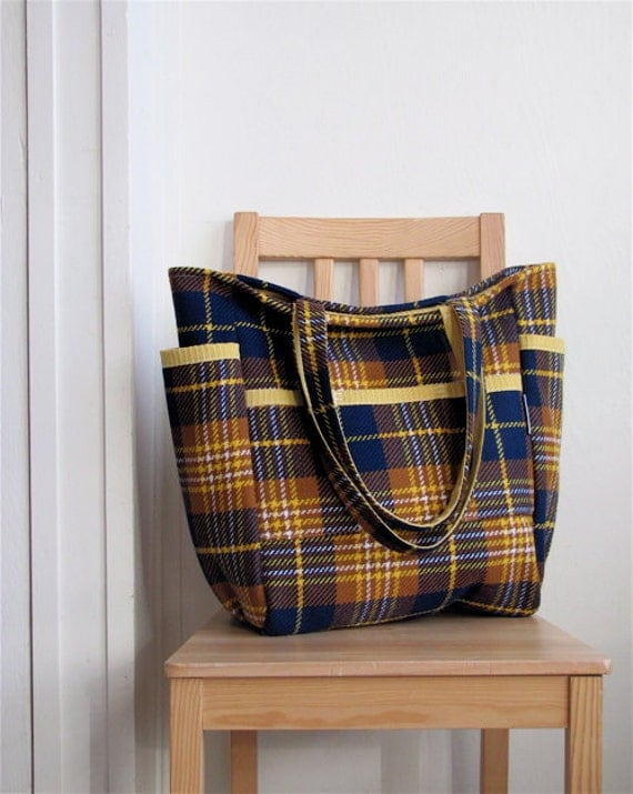 Old School Retro Plaid Upcycled Weekender - Navy & Mustard Polyester Wool Tartan  Teacher / Travel / Diaper Bag - Eco Friendly Under 50 Gift