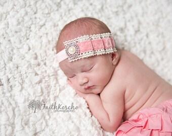 Baby Headband, Pleated Pink Velvet and Ivory Crochet Lace w/ Pearl & Crystals Headband, Vintage, Newborn Baby Toddler Child Girls Headband