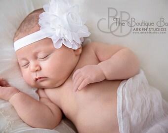 White Flower Headband, Mini Chiffon Rose Headband or Hair Clip, The Petite Emma, Baby Headband,  Baptism, Christening, Child Girls Headband